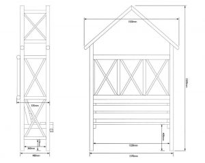 Blooma Cottage Wooden Arbour Dimensions