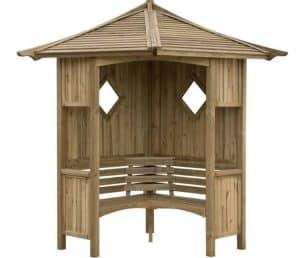 Blooma Elegant Wooden Corner Arbour Unpainted
