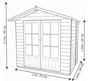 Blooma Lumley Shiplap Wooden Summerhouse Overall Dimensions