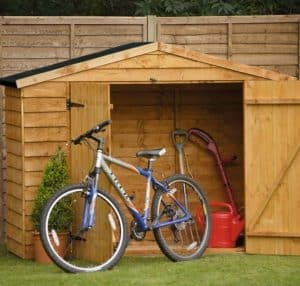 Blooma Overlap Wooden Bin and Bike Shed 7X3 front with bike