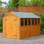Double Door Overlap Wooden Shed with Four Windows Featured