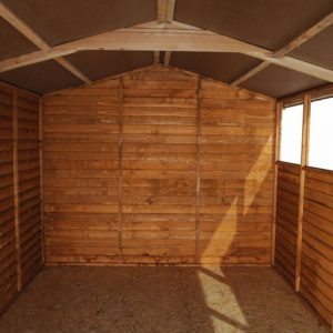 Double Door Overlap Wooden Shed with Four Windows Inside View