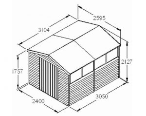 Double Door Overlap Wooden Shed with Four Windows Overall Dimensions