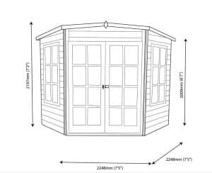 Hampton 10X10 Shiplap Timber Summerhouse Dimensions