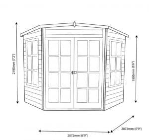 Hampton 7 X 7 Shiplap Timber Summerhouse Dimensions