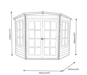 Hampton 7X7 Shiplap Timber Summerhouse Dimensions