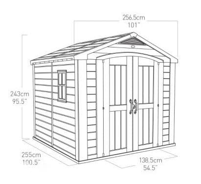 keter factor plastic garden shed 8x8 overall dimensions - Garden Sheds 8x8