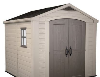 keter factor plastic garden shed 8x8 side view - Garden Sheds 8x8