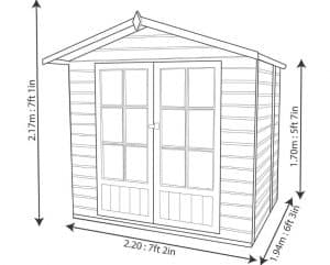 Lumley 7X5 Shiplap Timber Summerhouse Dimensions