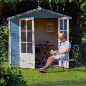 Lumley 7X5 Shiplap Timber Summerhouse Double Doors Open