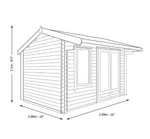 Marlborough 10X10 28mm Tongue & Groove Timber Log Cabin Dimensions