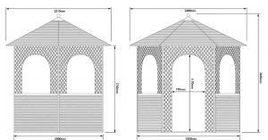 Rowlinson Willow Gazebo Overall Dimensions