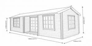 Shire Elveden Log Cabin 26X14 overall dimensions