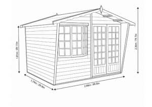 Shire Sandringham Summerhouse 10 x 6 Overall Dimensions