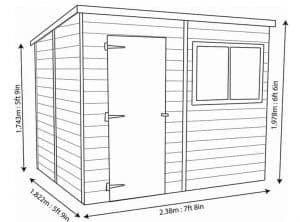 Shire Shiplap Pent Roof Wooden Shed 8 x 6 Overall Dimensions