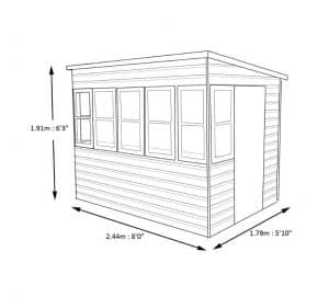 Sun 8X6 Shiplap Timber Summerhouse Dimensions