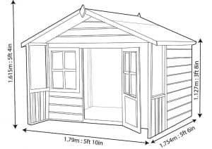 Woodbury 6X4 Playhouse Dimensions