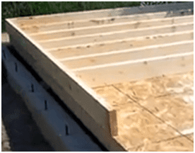 Connecting cross beams in shed base