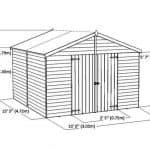 15 x 10 Standard Overlap Apex Modular Wooden Workshop overall dimension