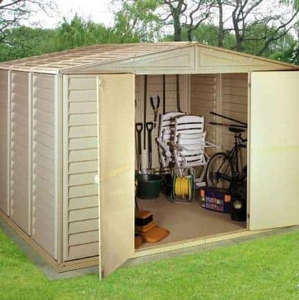 10' x 13' Duramax Woodbridge Steel Framed Vinyl Plastic Clad Metal Shed -  What Shed