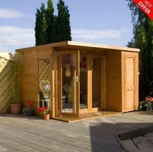 10' x 8' Cambridge Summer House With Side Shed