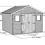 12 x 10 Shiplap Tongue and Groove Workshop Shed Overall Dimensions