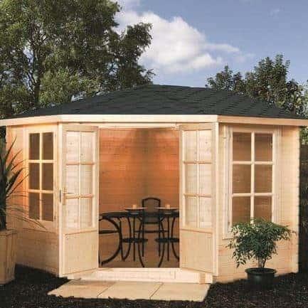 3.25m x 3.25m Rowlinson Kestrel Corner Log Cabin