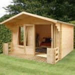 3.3m x 3.7m Large Log Cabin Studio with Veranda
