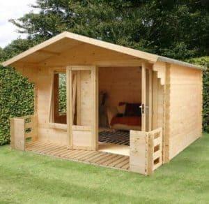 3.3m x 3.7m Large Log Cabin Studio with Veranda