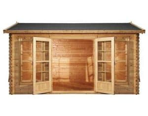 4.5m x 3.5m Home Office Director Log Cabin Front View