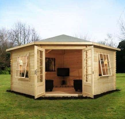 4m x 4m lodge corner log cabin what shed. Black Bedroom Furniture Sets. Home Design Ideas