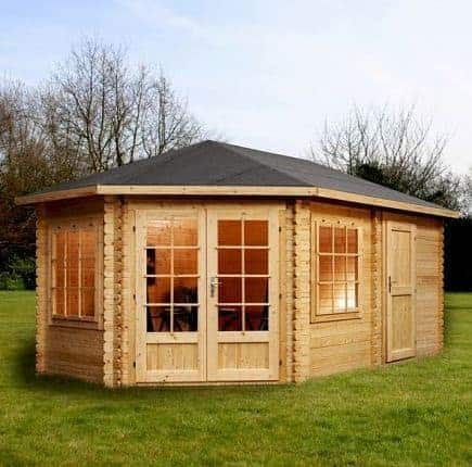 5m x 3m Left Sided Corner Lodge Plus Log Cabin