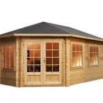 5m x 3m Left Sided Lodge Grande Corner Log Cabin