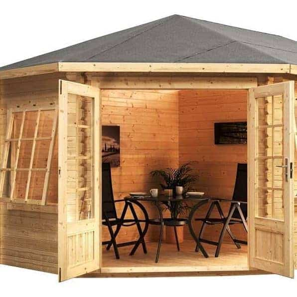 5m x 3m right sided corner lodge plus log cabin external view - Garden Sheds 5m X 3m