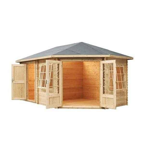5m x 3m right sided corner lodge plus log cabin open doors