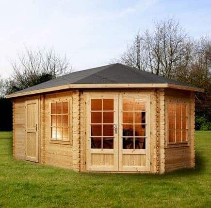 5m x 3m right sided corner lodge plus log cabin