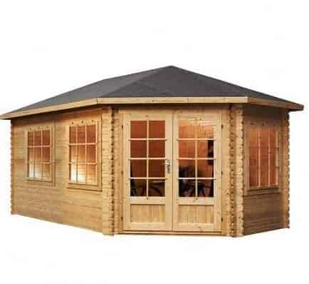 5m x 3m Right Sided Lodge Grande Corner Log Cabin