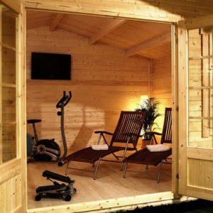 5m x 5m Haven Log Cabin Internal View