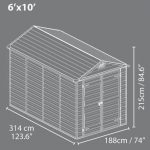 6' x 10' Palram Skylight Plastic Amber Shed overall dimensions