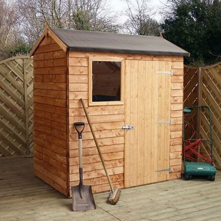 6' x 4' Windowless Reverse Overlap Apex Wooden Shed