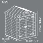 6 x 5 Palram Skylight Plastic Olive Green Shed Overall Dimensions