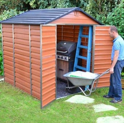 the 6 x 8 palram skylight plastic amber shed is a garden shed that combines the practicality of a plastic shed with a traditional appearance