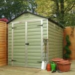 6 x 8 Palram Skylight Plastic Olive Green Shed closed door