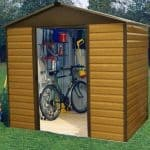 6'1 x 3'4 Yardmaster Woodgrain Apex Metal Shed
