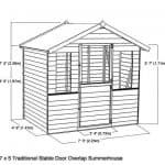 7' x 5' Henley Stable Door Summer House Wall Overall Dimensions