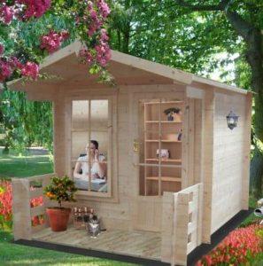 7' x 7' Shire Maulden Log Cabin With Veranda