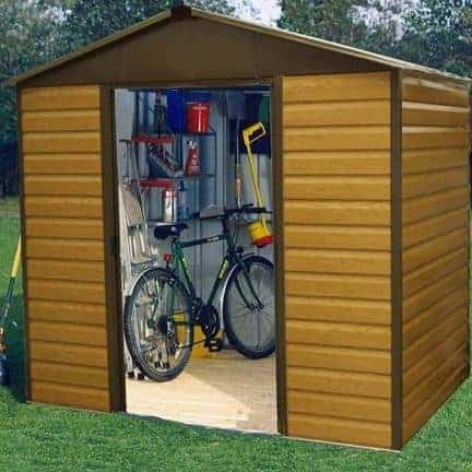 7'5 x 6'1 Yardmaster Woodgrain Apex Metal Shed