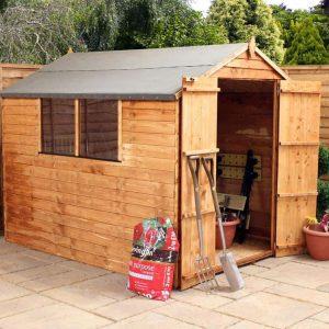 8 x 6 Double Door Standard Overlap Apex Garden Shed featured