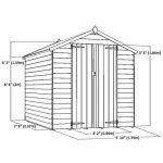 8 x 6 Double Door Standard Overlap Apex Garden Shed overall dimensions
