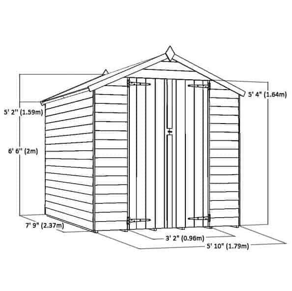 8 X 6 Double Door Standard Overlap Apex Garden Shed